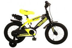 Volare Sportivo Kinderfiets - Jongens - 14 inch - Neon Geel Zwart - 95% afgemonteerd