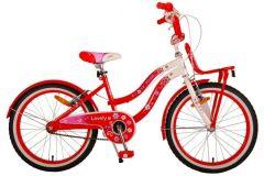 Volare Lovely Kinderfiets - Meisjes - 20 inch - Rood Wit - Twee Handremmen