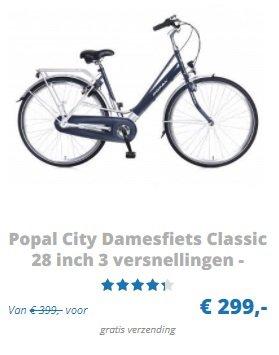 Popal City Damesfiets Classic 28 inch 3 versnellingen - Blauw