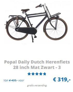 Popal Daily Dutch Herenfiets 28 inch Mat Zwart - 3 versnellingen